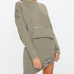 Misguided Jersey overlay T-shirt dress stripe S/10